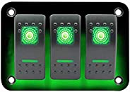 3 Gang Rocker Switch Panel Waterproof 12V Green LED Aluminum Panel Marine Toggle Switches with Fused for Car R