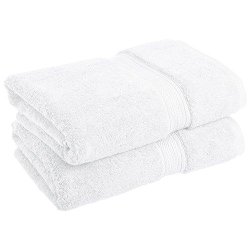 Superior Luxury Cotton Bath Towel Set - 2-Piece Towel Set, 900 GSM, Long-Staple Cotton Towels, White