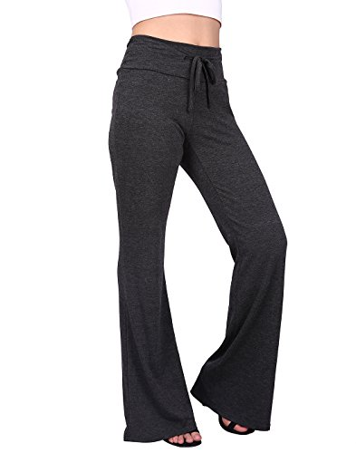 HDE Womens Cotton Pajama Pants Wide Leg Sleepwear Casual Loose Lounge PJ Bottoms (Charcoal, 1X)