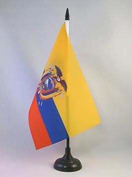 AZ FLAG Bandera de Mesa de Ecuador 21x14cm - BANDERINA de DESPACHO ECUATORIANA 14 x 21 cm