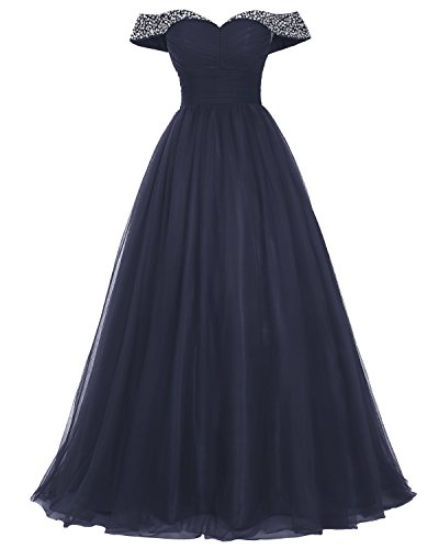 Bridesmay Long Tulle Prom Dress Beaded Off Shoulder Evening Gown Formal Dress Navy Size 18W