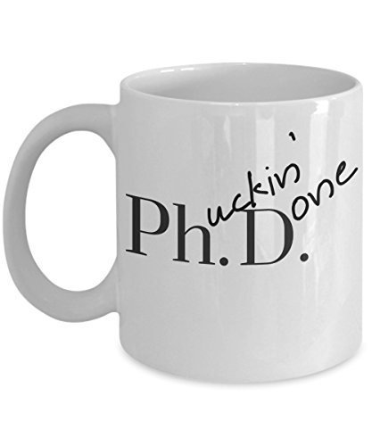 Humorous Coffee Talk PHD Humor Coffee Mugs, Phucking Done Ceramic Mug Graduation Gifts, Curse Coffee Cup, Funny Desk Ornaments, Novelty Gifts, Grad Student Gag Gifts - Krumfortable Living