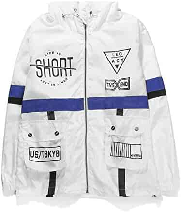 af8222381 Men Jackets & Coats AITFINEISM Mens Lightweight Hooded Zip up Sports Jacket  Windproof Windbreaker