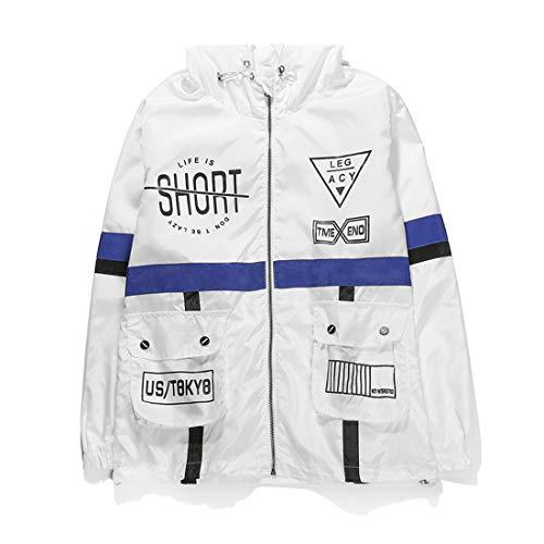 AITFINEISM Men's Fashion Lightweight Hooded Zip-up Letter Windbreaker Jacket (X-Large, White)