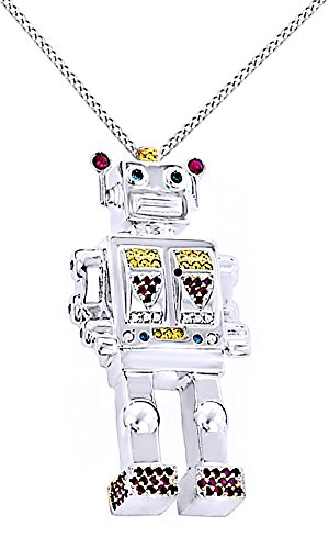 Round Cut Multicolor Cubic Zirconia Robot Hip Hop Pendant in 14K White Gold Over Sterling Silver (0.5 Cttw) by AFFY