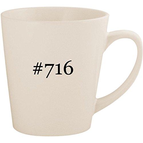 #716 - White Hashtag 12oz Ceramic Latte Mug Cup ()