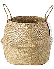 Verazhu Woven Seagrass Belly Basket with Handles for Storage, Laundry, Picnic,Woven Plant Pot Holders