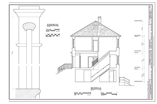- Historic Pictoric Blueprint Diagram Section; Stair Detail - Storer College, Cook Hall, 252 McDowell Street, Harpers Ferry, Jefferson County, WV 44in x 30in