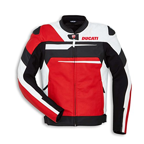 Perforated Leather Motorcycle Jacket (56, Red/White/Black) (Alpinestars Motorcycle Leathers)