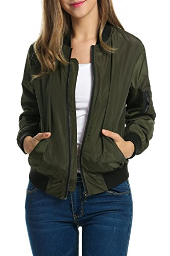 Zeagoo Women Classic Solid Biker Jacket Zip up Bomber Jacket Coat Army Green M