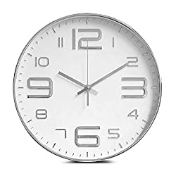 Jpettie 12 Silent Non Ticking Quality Quartz Round Wall Clock, Digital Decorative Wall Clocks Battery Operated for Home/Kitchen/Office/School, Easy to Read (Silver)