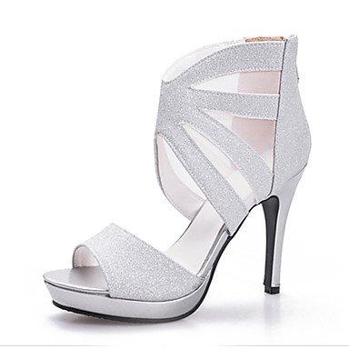 LvYuan Tacón Stiletto-Zapatos del club-Sandalias-Oficina y Trabajo Vestido Fiesta y Noche-Sintético-Negro Plata Oro Black