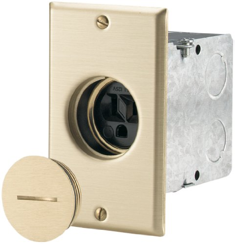 Wiring Electrical Outlets (Eaton TR5797 Tamper Resistant Commercial Single Floor Box Assembly, 125-volt, Black/Brass)
