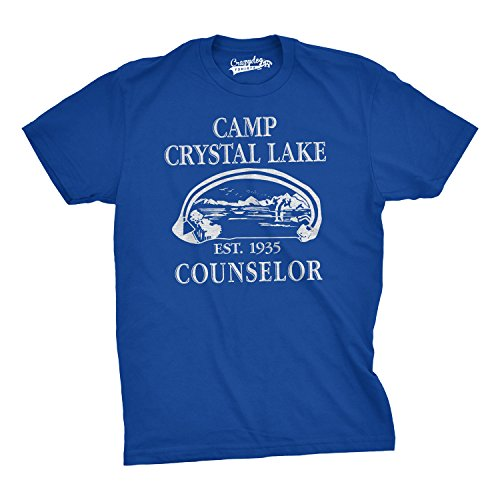 Mens Summer Lake Camp Scary Halloween Horror Movie T shirt (Royal Blue)-3XL