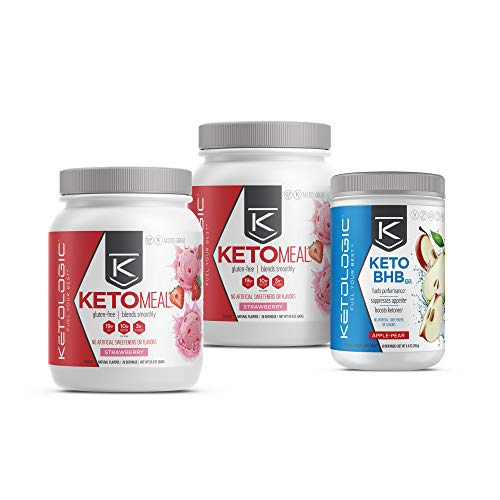 KetoLogic Keto 30 Challenge Bundle, 30-Day Supply   Includes 2 Meal Replacement Shakes with MCT [Strawberry] & 1 BHB Salt [Apple-Pear]   Suppresses Appetite, Promotes Weight Loss & Increases Energy