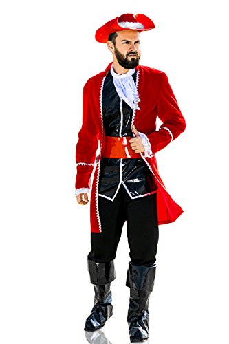 Halloween Guy Good Ideas Costume (Adult Men Captain Morgan Halloween Costume Regal Pirate Dress Up & Role Play (One size fits)