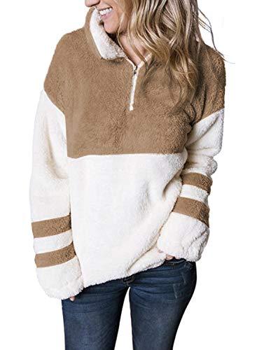 MEROKEETY Women's Long Sleeve Contrast Color Zipper Sherpa Pile Pullover Tops Fleece with Pocket