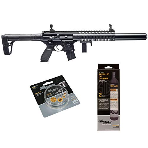SIG Sauer MCX .177 Cal CO2 Powered Advanced Air Rifle with CO2 90 Gram (2 Pack) and 500 Lead Pellets Bundle (Black, Folding Sights)