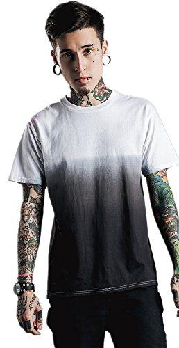 Zando Mens Fashion Gradient Color Crew Neck Cotton T Shirts Hip Hop Tops 039T White Black X Large