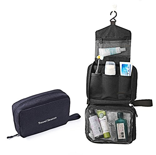 AuHonr Travel Toiletry Bag Business Toiletries Case for Men Shaving Kit, Waterproof Compact Toiletry Organizer with Hanging Hook, Bathroom/Travel Cosmetic Bag for Men Women - Black