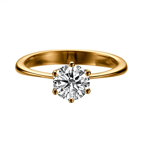 - 7.50MM Forever One D-F VS Moissanite Ring (1.29 ct Moissanite Weight, 1.50 ct dew) Classic 6 prongs 14K Rose Gold