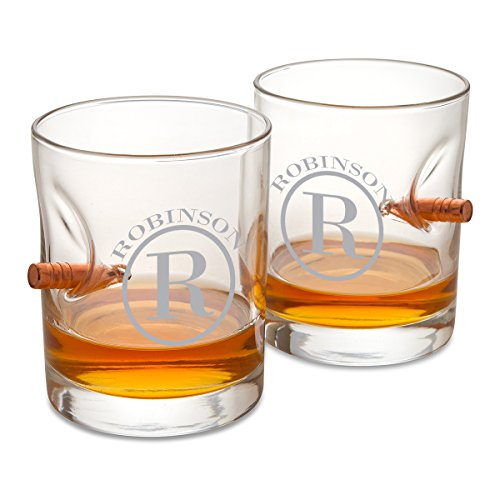 Personalized Bulletproof Lowball Whiskey Glass - Set of 2 - circle monogram Circle Monogram Set