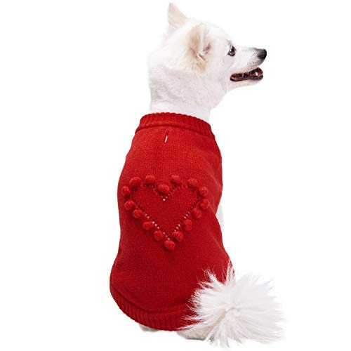 Blueberry Pet 2019 New 4 Patterns for Love of Pets - Heart Designer Dog Sweater, Back Length 16