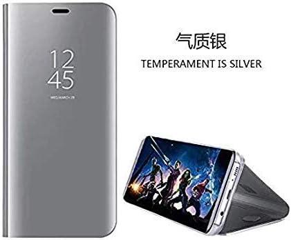 hyujia Compatible para Huawei P10 Lite/Nova Lite Carcasa 2018/Funda Inteligente Fecha/Hora Ver Espejo tirón del Caso Soporte Plegable/Duro Shell ...