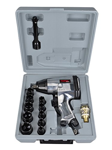 PowRyte 17pcs 1/2-Inch Air Impact Wrench Set with Impact Sockets and Blow Mold Case by PowRyte (Image #1)