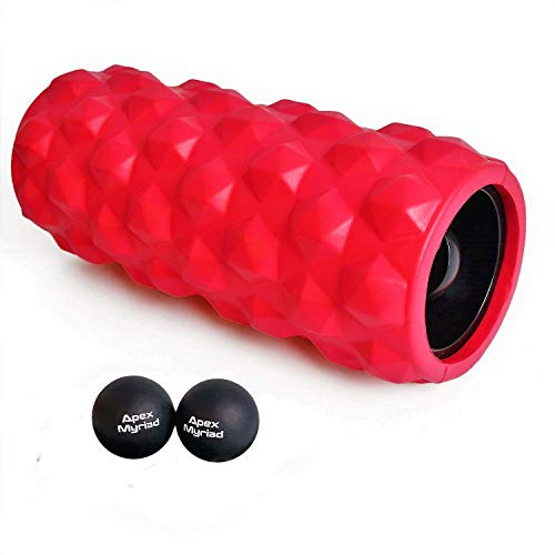 Vibrating Foam Roller High Intensity 3 Speed RECHARGEABLE with TWO BONUS Lacrosse Massage Balls includes INSTRUCTION GUIDE & SHOULDER CARY BAG Trigger Point Deep Tissue Muscle Self Myofascial Massager For Sale