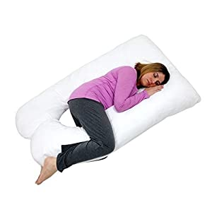 U Shaped-Premium Contoured Body Pregnancy Maternity Pillow with Zippered Cover - White