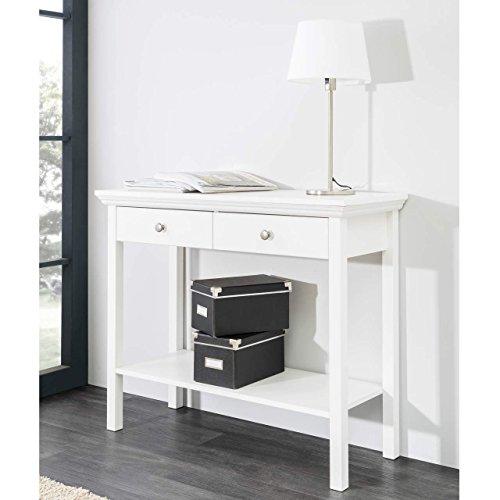 STOCKHOLM Landhaus Konsolentisch Anrichte Beistelltisch Tisch Sekretär Ablage Kommode 90x75x35cm in weiß