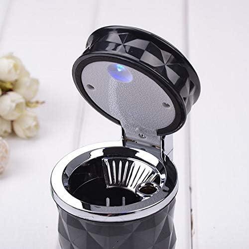 Haodou Aschenbecher mit LED Light Rund Form Auto Aschenbecher f/ür draussen mit Deckel leicht zu Waschen Aschenbecher Schwarz