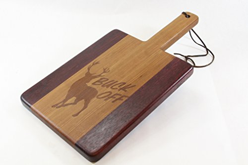 Handcrafted Wood Cutting Board - Paddle Board, Purpleheart & Cherry, Laser engraved, Buck Off, hunters cutting board. Makes great gift!