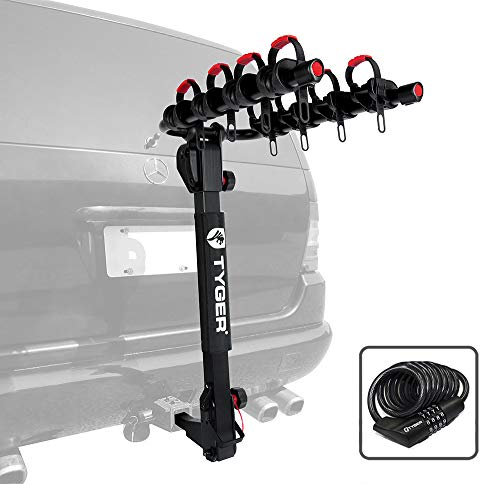 (Tyger Auto TG-RK4B102B Deluxe 4-Bike Carrier Rack Fits Both 1-1/4'' and 2'' Hitch Receiver | with Hitch Pin Lock & Cable Lock | Soft Cushion Protector)