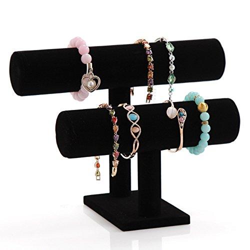 Ginasy 2-Tier T-bar Black Velvet Bracelet Watch Display 10.03