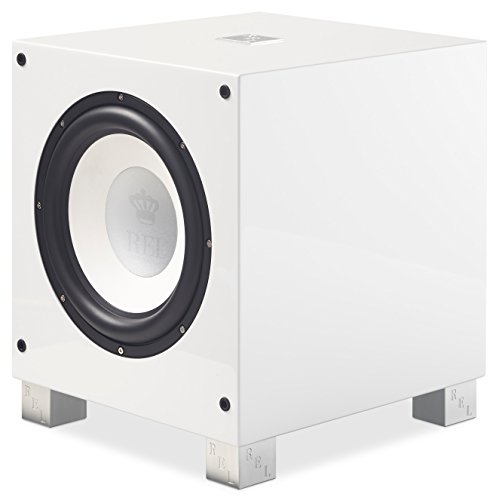 REL Acoustics T/9i Subwoofer, 10 inch Front-Firing Driver, Arrow wireless port, High Gloss White (High Floor Speaker End Standing)