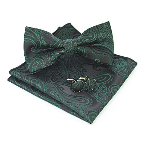 - JEMYGINS Mens Green Black Paisley Bow Tie and Pocket Square With Cufflinks Set(5)