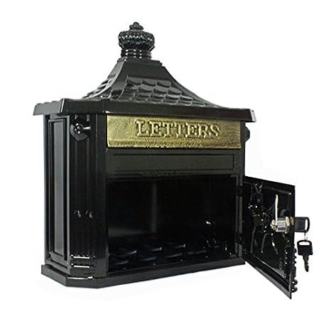 Antiguo negro montado en la pared aluminio fundido estilo victoriano - Buzón Buzón Buzón: Amazon.es: Bricolaje y herramientas