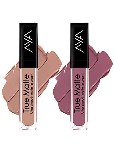 AYA true Matte Liquid Lipgloss Lipstick with AYA Eyeliner (Pink Nude and Brown Nude)