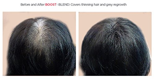 BOOSTnBLEND Black Hair Loss Scalp Concealer for women with thinning hair. Use as fill in powder, hair filler, BEST female hair thickening fibers. Get your confidence back! 22g/0.78oz by BOOSTnBLEND (Image #4)