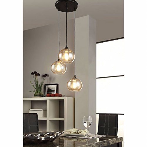 Modern Chandelier Centerpiece For Dining Rooms And Kitchen Areas. Round Globe Light Fixture Provides Ample Lighting. Glass Indoor Hanging Lamp Set Suitable For High And Low Ceilings. 17