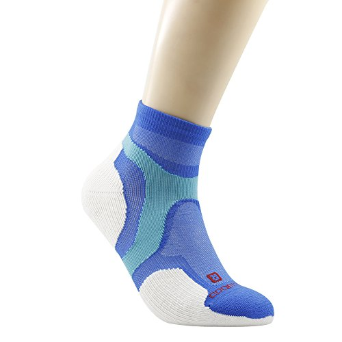 Ankle Athletic Socks, ZEALWOOD Women Cushion Quarter Socks for Cycling and Trail Running Socks Merino Wool Antibacterial Socks Multi-Sport Thin Padded Low Cut Sock-Blue/White,Small