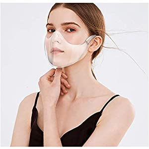 Transparent_Face_Mask, Clear Face Shield Combine Plastic Reusable Clear Face Bandanas, Upgraded Breathable, Anti Fog and Breathable, Visible Expression, for Adults. (1 pcs) (Color: 1 pcs)