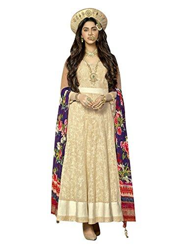Vibes-Womens-Mastani-Collection-Unstitched-Beige-Colour-Anarkali-Cotton-Dress
