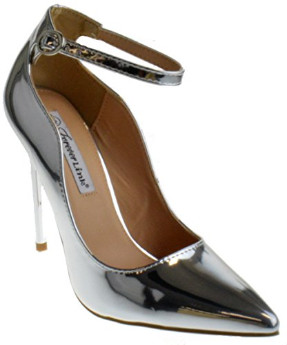 Forever Grace 8P Womens Strappy Pointed Toe Curvy Pumps Silver Metallic 7