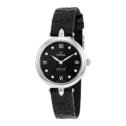 Omega De Ville Prestige Black Diamond Dial Leather Strap Ladies Watch 424.13.27.60.51.001