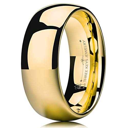 (THREE KEYS JEWELRY 8mm Tungsten Carbide Wedding Ring for Women Wedding Band Engagement Ring Comfort Fit Dome Classy 24K Gold Plated Size 9.5)