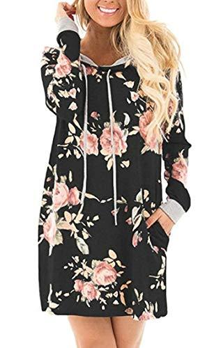 Floral Hoodie Pull Jaycargogo Longues Manches Noir Poches Loose Robe Occasionnels Imprim Femmes qBEpwEI