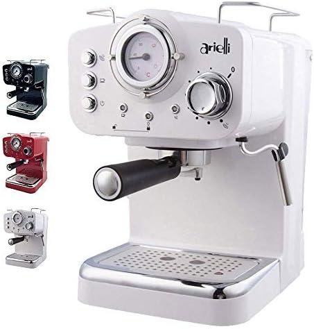 ARIELLI KM-501 Modello 2019 Macchina Caffè Espresso Macinato/Cialde 2 Filtri per 1/2 tazze Vaporizzatore per tè o cappuccino Sistema di sicurezza Termometro 1100W 15bar 1.25L (Bianco)